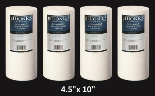 "4.5/"" x  10/"" Big Blue Sediment Water Filters 4 Whole House Cardridges 5 Micron"