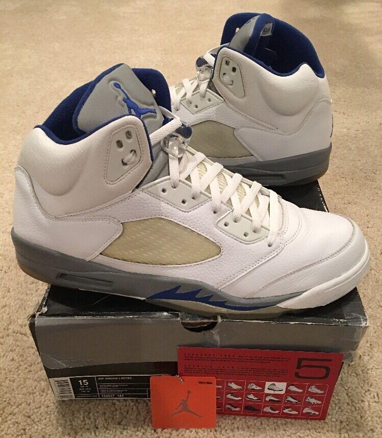 Nike Air Jordan Retro 5 V White Sport Royal Stealth bluee Size 15 2006