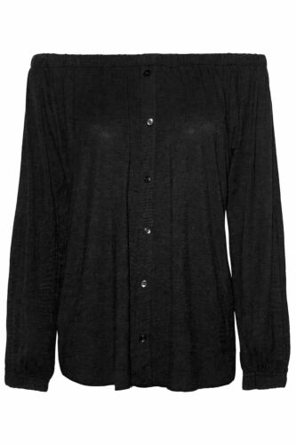 Womens Elastic Front Buttons Down Long Manche Off The Shoulder Ladies Bardot Top