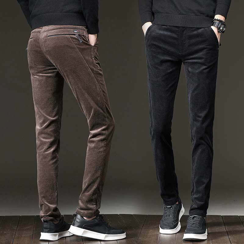 Youth Corduroy Casual Pants Winter Plus Size Warm Cotton Men's Skinny Trousers