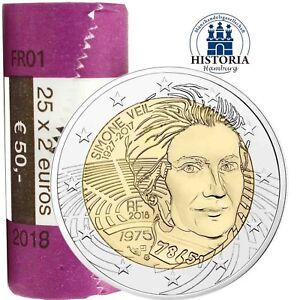 25 X Frankreich 2 Euro Münze Simone Veil 2018 Bankfrisch