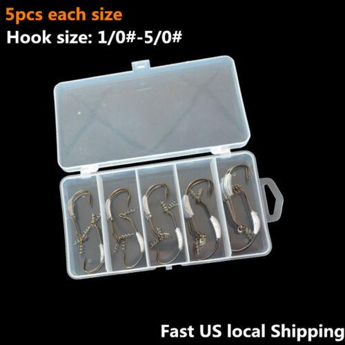 25pk Offset Black Nickel Weighted Hook w// Spring Lock for Soft Swimbait Jerkbait