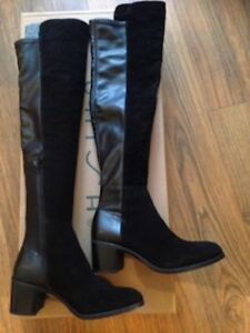 Black Baby Suede Faria Knee Unisa Sz 7 New Leather Over High Boots dZwRB4