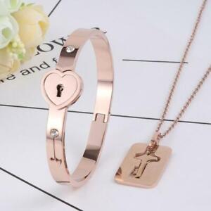 Couple Titanium Steel Love Heart Lock Bracelet Bangle Key Pendant Necklace Set