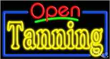 """NEW """"OPEN TANNING"""" 37x20 BORDER REAL NEON SIGN W/CUSTOM OPTIONS 15581"""