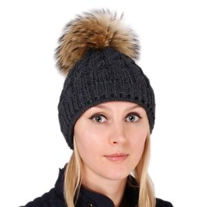 3851315f195 Graphite Wool Hat with Finnraccoon Fur Pom Pom Grey Beanie Winter ...