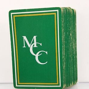 Green-Monogram-Playing-Cards-Gold-MCC-Gemaco-Vintage-Deck-USA