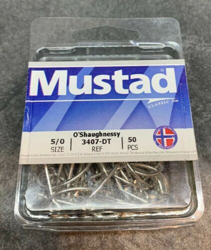 Mustad O Shaughnessy Forged-Duratin 50 Count 5 0 3407-DT-5//0-50
