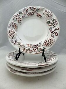 Pine-Cones-amp-Holly-Holiday-embossed-Salad-Serving-plates-set-lot-of-4-8-034-EUC