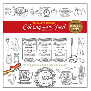 Coloring And the Food Anti-Stress Colouring book from Korea | eBay