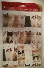 cute kitten cat tabby ginger black white fluffy xmas gift wrap 6 sheets 6 tags - How To Wrap A Cat For Christmas