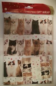 Cute-Kitten-Cat-Tabby-Ginger-Black-White-Fluffy-Xmas-gift-wrap-6-sheets-amp-6-tags