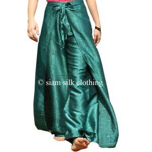 2b6d216d905 Details about Womens Thai Fisherman Pants Silk Yoga Wrap Plus Size Hippie  Green Harem Trousers