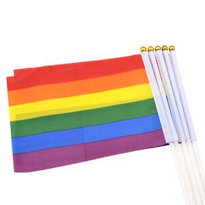 5Stuecke-Regenbogen-LGBT-Homosexuell-Stolz-Karnevalsfest-Hand-Winken-Klein-Fahnen