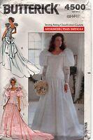 Butterick Sewing Patterns Wedding Dress Bridal Gown & Veil 4500 Sz 12-14-16 Uc