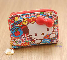 Cute 3D Red Bow For Hello Kitty PU Leather Bank Credit ID Card Holder Case Gifts