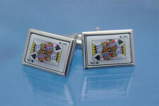 Silver & Coloured Ace Of Spades & King Playing Card Cufflinks & Gift Pouch