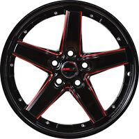 4 Gwg Wheels 17 Inch Black Red Drift Rims Fits 5x110 Chevrolet Cobalt 5 Lug
