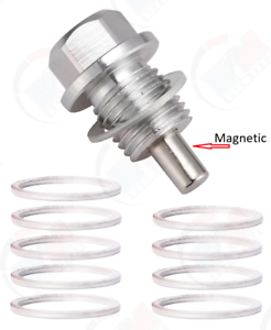 Aluminum MAGNETIC Silver Oil Drain Plug ADP541SIL 10 Washer for EVO X IX VIII