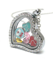 Origami-style Nurse Rn Hearts Crystal Floating Charm Heart Locket 24 Necklace