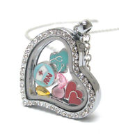 Origami-style Nurse Rn Hearts Crystal Floating Charm Heart Locket 23 Necklace