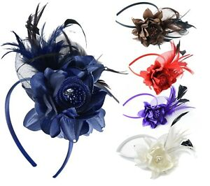 Fascinator-on-Headband-for-Women-Weddings-Ascot-Races-Alice-Band-Flower-Diamante