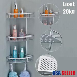 3-Shelf-Shower-Corner-Tension-Pole-Caddy-Organizer-Bathroom-Bath-Storage-Rack-US