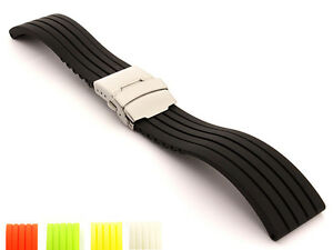 Mens-Silicone-Rubber-Watch-Strap-Band-Waterproof-with-Deployment-Clasp-GS