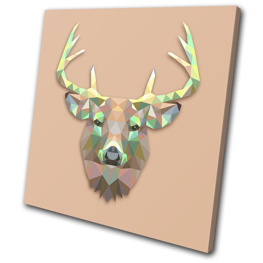 Geometric abstract stag animals single toile wall art photo print