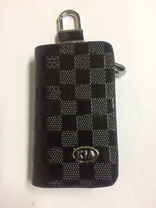 KIA Leather Car Key Keychain Fob Case Holder Zipper Cover High Quality Black