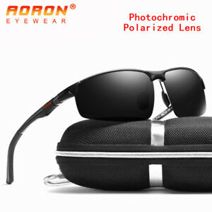 Aluminium Mens Polarized Photochromic Sunglasses UV400 Chameleon Driving Eyewear