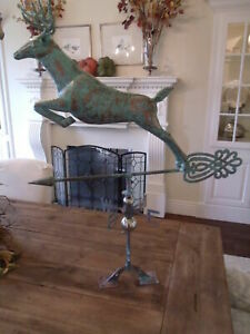HUGE-Handcrafted-3-Dimensional-Jumping-Deer-Weathervane-Copper-Patina-Finish