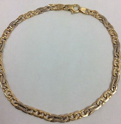 """Jewelry & Watches 14k Two Tone Yellow White Gold Mens Bracelet Or Anklet 10"""" Fine Jewelry"""