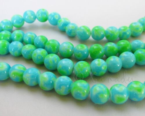 100 Or 200PCs Turquoise And Green Speckle Wholesale 8mm Glass Beads G3901-50