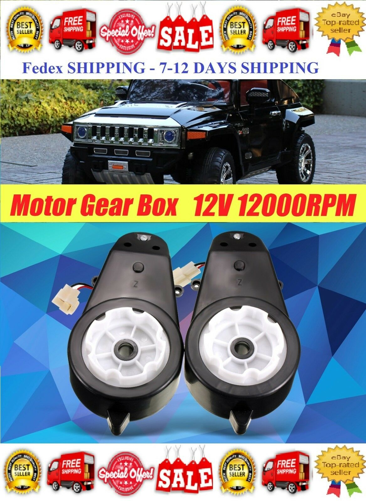 New 12v Power Wheels Gearbox Motor Jeep Ride On Toys 1 Pair Electric Car Drive