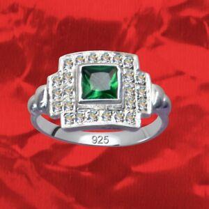 New-Silver-925-anillo-Sterling-art-deco-dedos-rhinestone-zirconia-Crystal-artdeco