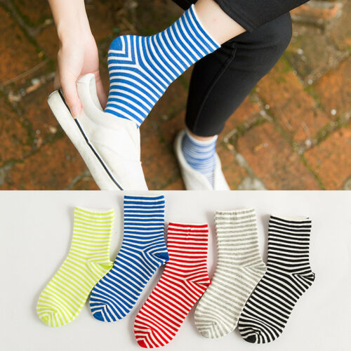 Fashion Mens Womens Fancy Crew Cotton Socks Ankle-high Striped Casual Tube Socks
