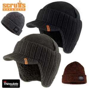 e3dd6e9d678 Image is loading SCRUFFS-PEAKED-BEANIE-WARM-WINTER-INSULATED-BLACK-WORKER-