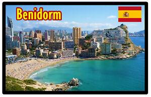 Benidorm-Espagne-Souvenir-Nouveaute-Refrigerateur-Aimant-Sites-Flags-Neuf