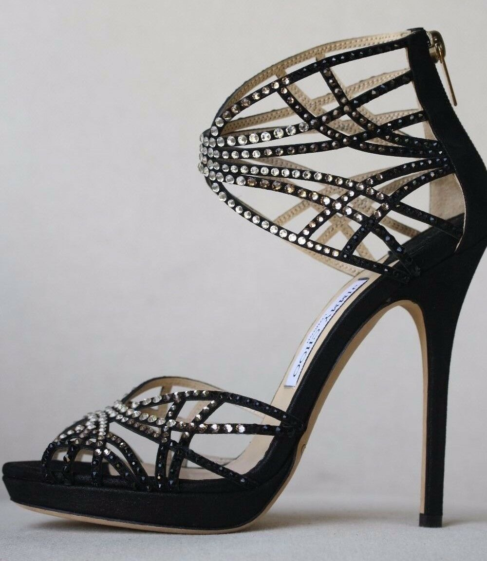 JIMMY CHOO DIVA CRYSTAL CAGE HEELS 37.5 US 7.5 UK 4.5