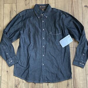 Harriton-Men-039-s-Long-Sleeve-Dark-Wash-Denim-Shirt-Size-Medium-NWT
