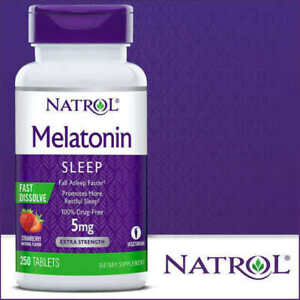 Natrol Melatonin 5 mg Sleep Aid 250 Fast Dissolve Tablets Strawberry EXP 03/2023