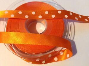 2 M X 16 Mm Simple Face Satin Orange Ruban Avec Points Blancs.-afficher Le Titre D'origine
