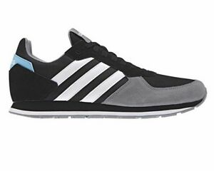 Détails sur Adidas 8K B44675 de Course Baskets Hommes Noir Gris Chaussure Gym