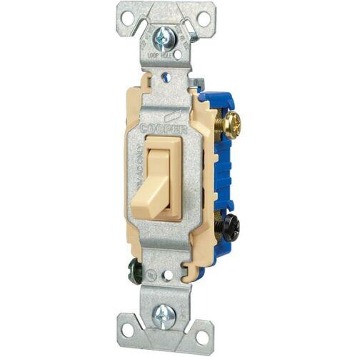 Box of 60 Eaton 15-Amp Single Pole 3-Way Ivory Indoor Toggle Light Switch