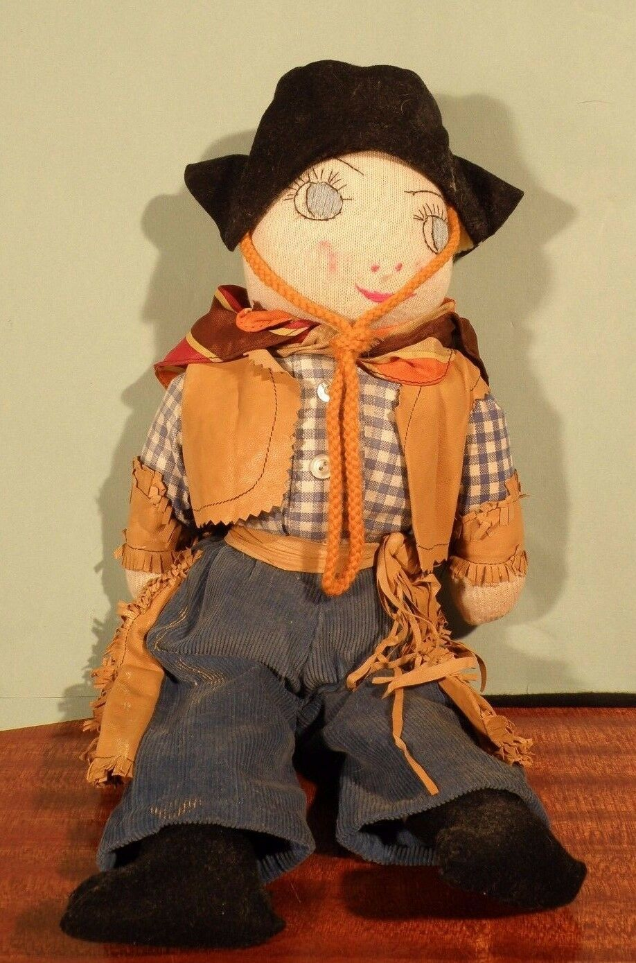 Antique Rag Doll Cowboy Handmade Folk Art Embroidery Primitive Sculpture Naive