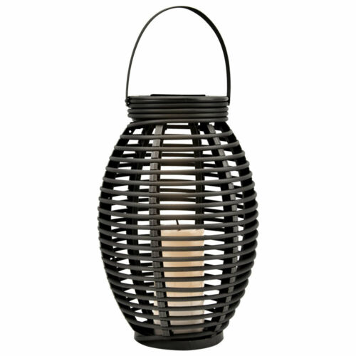 LED Solar Außen Steh Stand Lampe Feuer Flacker Effekt Rattan Hof Hänge Leuchte