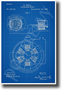 Tesla AC Motor Patent - NEW Science Invention Technology POSTER (ms307)