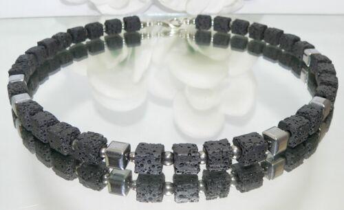 Joyas de piedra piedra natural cadena collar lava cubo negro hematites plata 214