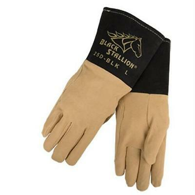 Black Stallion 25D-BLK Premium Deerskin TIG Welding Gloves, Large